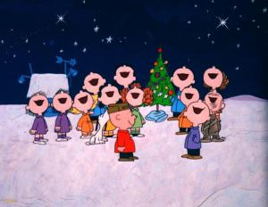 Charlie Brown friends caroling